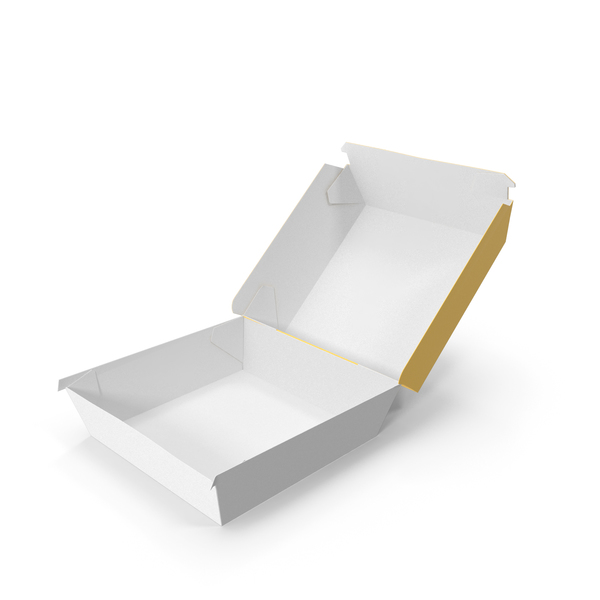 Takeaway Food Container: Burger Box Opened Yellow White PNG & PSD Images