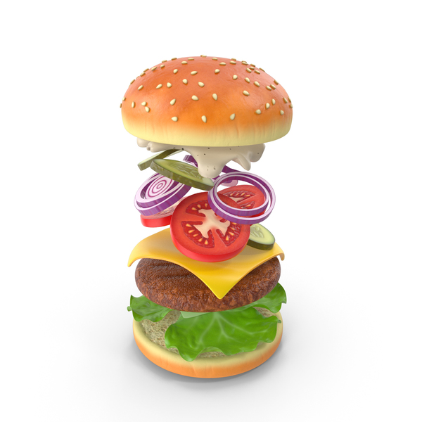 Burger Model PNG & PSD Images