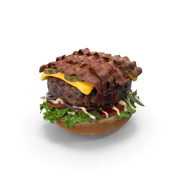 Burger Open with Bacon PNG & PSD Images