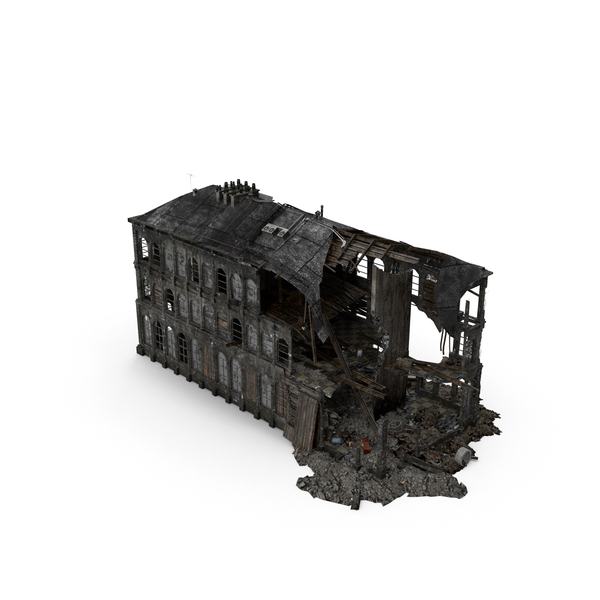 Ruined City: Burned Building PNG & PSD Images