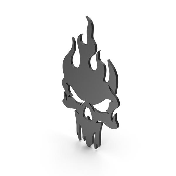 Burning Skull Figure Black PNG & PSD Images