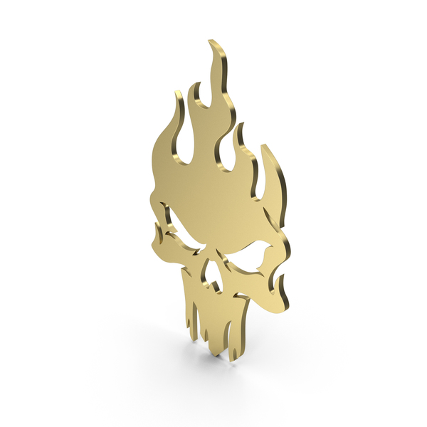 Burning Skull Figure Gold PNG & PSD Images