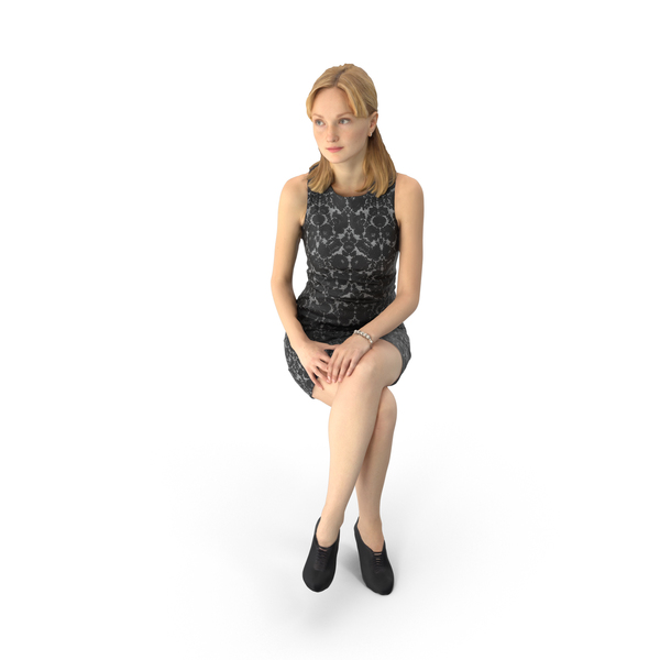 Business Woman Wearing Dress Sitting PNG & PSD Images