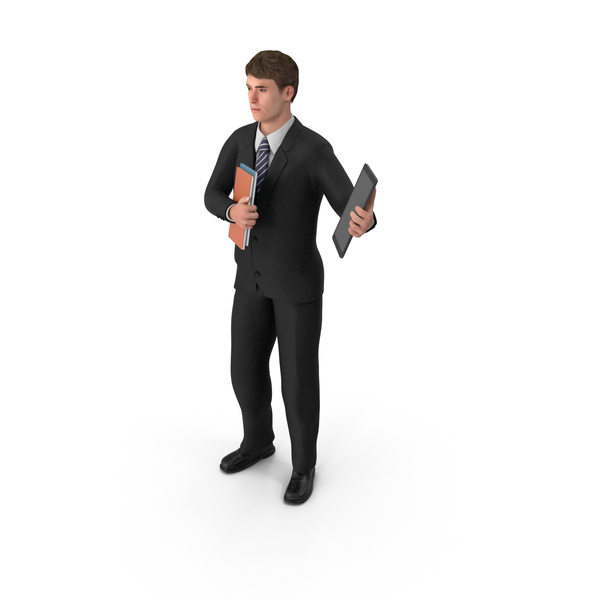 Businessman John Holding Books and Tablet PNG & PSD Images