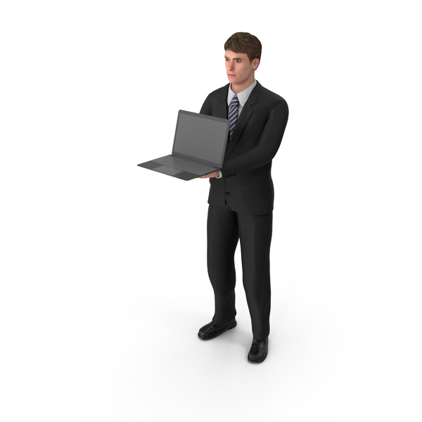 Businessman John Holding Laptop PNG & PSD Images