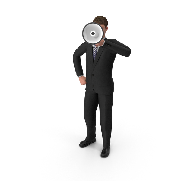 Businessman John Holding Loud Speaker PNG & PSD Images