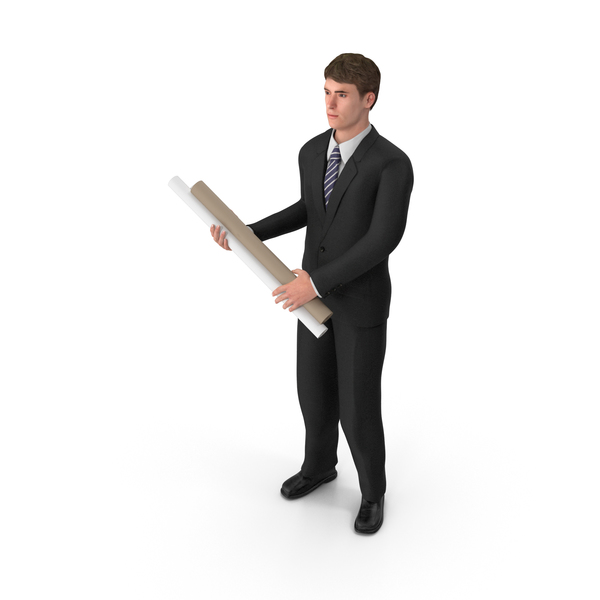 Businessman John Holding Plans PNG & PSD Images