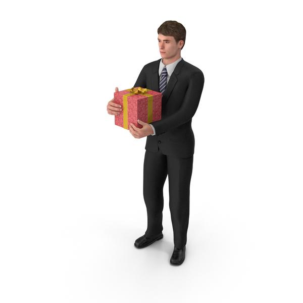Businessman John Holding Present PNG & PSD Images