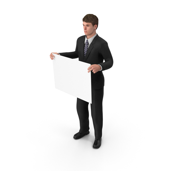 Businessman John Holding Sign PNG & PSD Images
