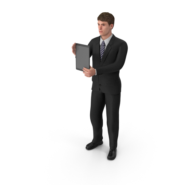 Businessman John Holding Tablet PNG & PSD Images