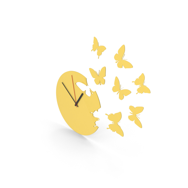 Butterfly Clock PNG & PSD Images