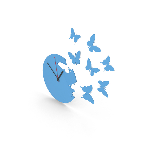Butterfly Clock Blue PNG & PSD Images