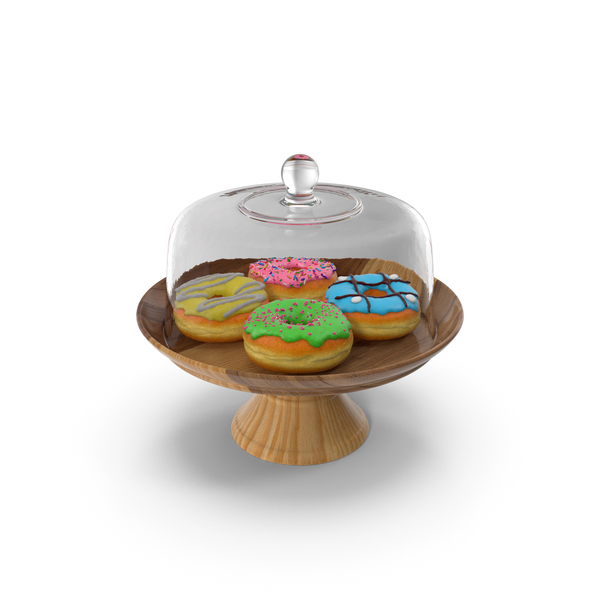 Cake Stand Wooden with Donuts PNG & PSD Images