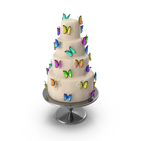 Cake with Butterflies PNG & PSD Images