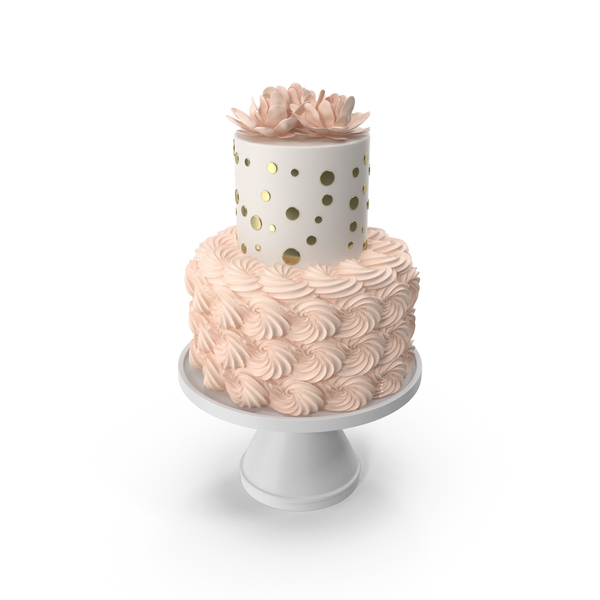Cake with Pink Flowers PNG & PSD Images