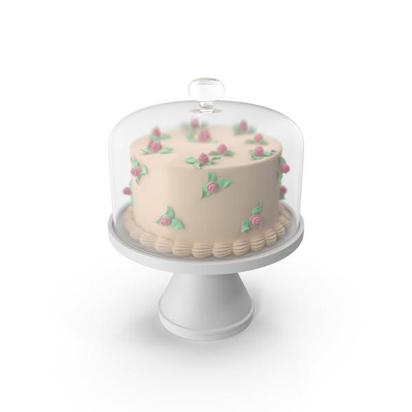 Cake with Roses and Glass Dome PNG & PSD Images