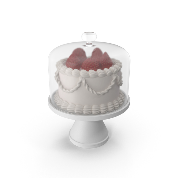 Cake with Strawberries and Glass Dome PNG & PSD Images