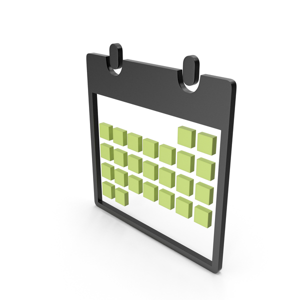 Calendar Black and Green Symbol PNG & PSD Images