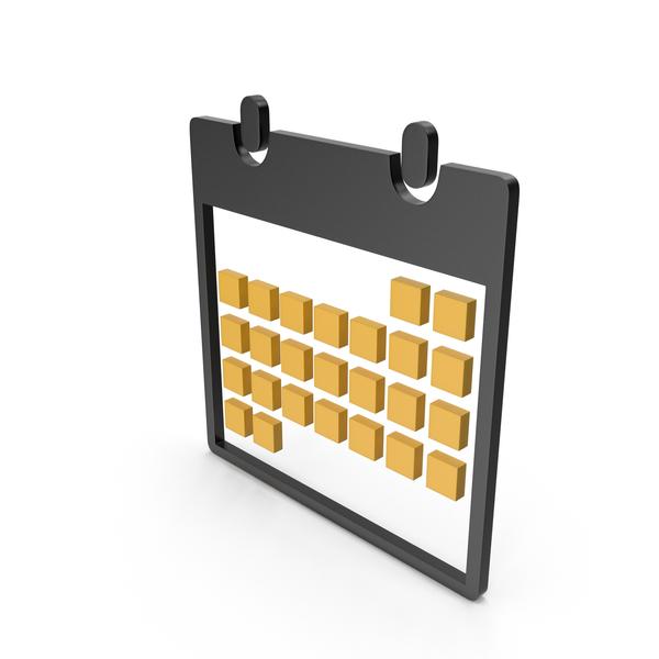 Calendar Black and Yellow Symbol PNG & PSD Images