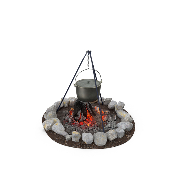 Campfire with Tripod and Cooking Pot Object