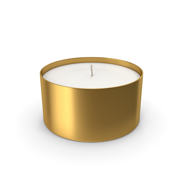Tea Light: Candle With Cup Gold PNG & PSD Images