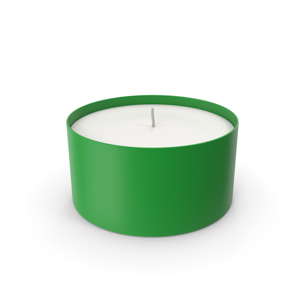 Tea Light: Candle With Cup Green PNG & PSD Images