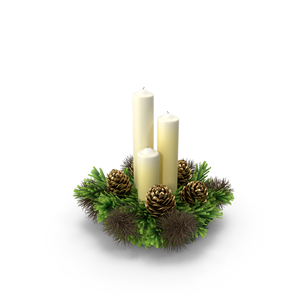 Candles and Christmas Wreath PNG & PSD Images