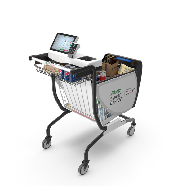 Caper Smart Shopping Cart with Goods PNG & PSD Images