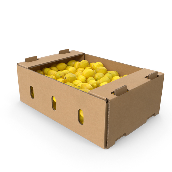 Cardboard Box of Lemons PNG & PSD Images