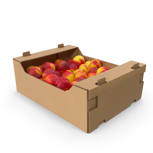 Cardboard Box of Nectarines PNG & PSD Images