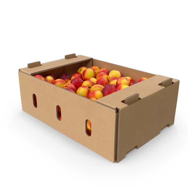 Peach: Cardboard Box of Nectarines PNG & PSD Images