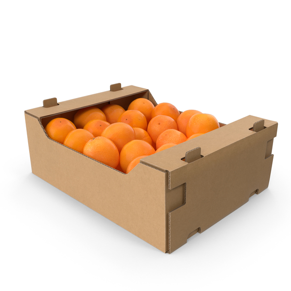 Cardboard Box of Oranges PNG & PSD Images