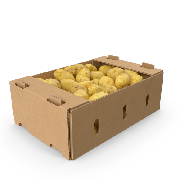 Cardboard Box of Potatoes PNG & PSD Images