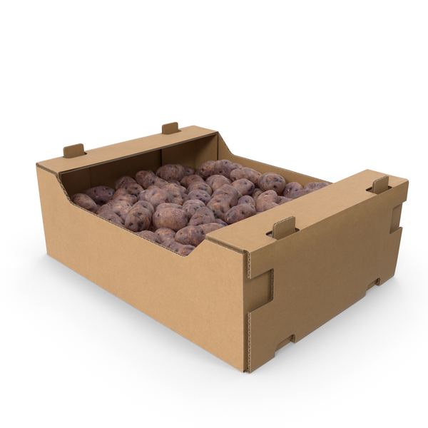 Cardboard Box Of Purple Potatoes PNG & PSD Images