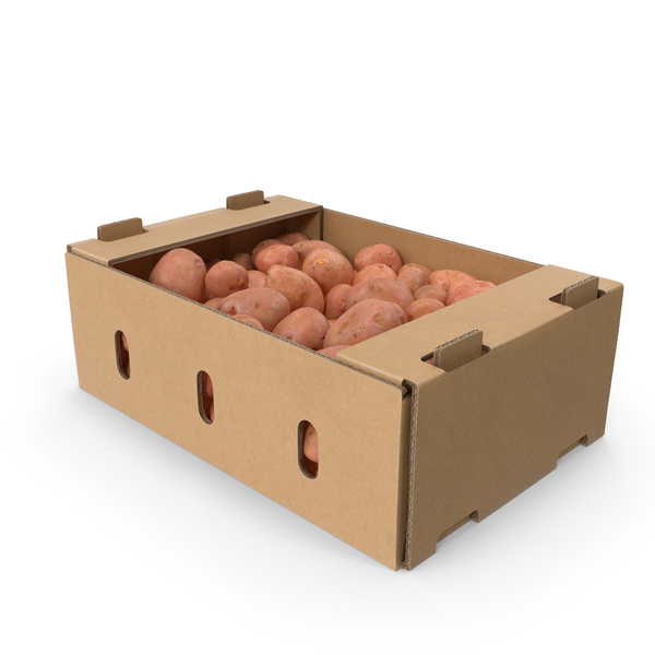 Cardboard Box Of Red Potatoes PNG & PSD Images
