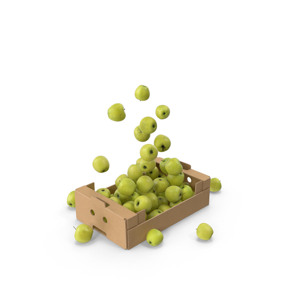 Apple: Cardboard Box With Flying Golden Delicious Apples PNG & PSD Images