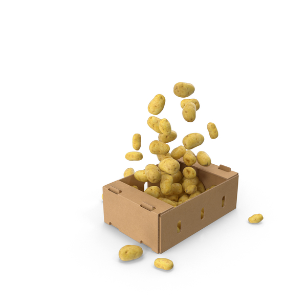 Cardboard Potato: Box With Flying Potatoes PNG & PSD Images