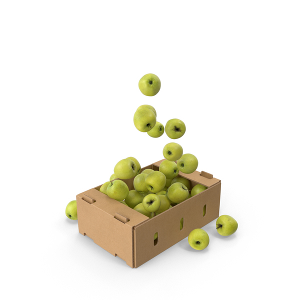 Cardboard Box With Golden Delicious Apple Flying PNG & PSD Images