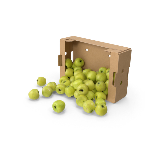 Cardboard Box With Golden Delicious Apple Spilled PNG & PSD Images