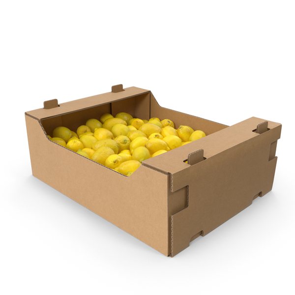Cardboard Box With Lemons PNG & PSD Images