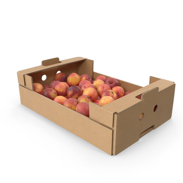 Peach: Cardboard Box With Peaches PNG & PSD Images