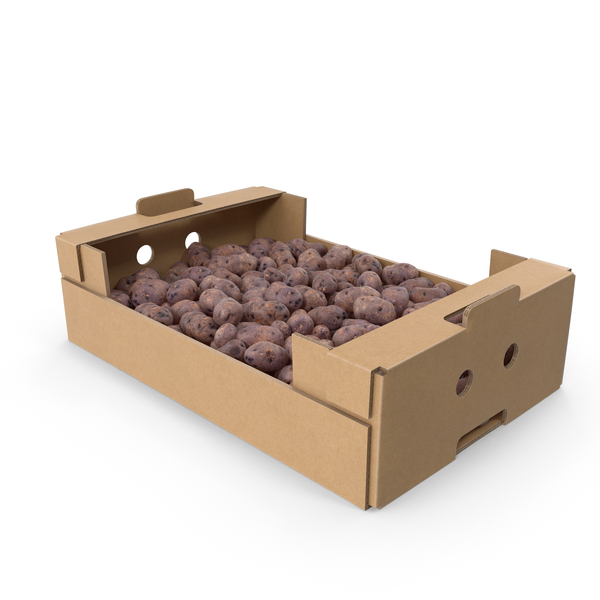 Cardboard Box with Purple Potatoes PNG & PSD Images