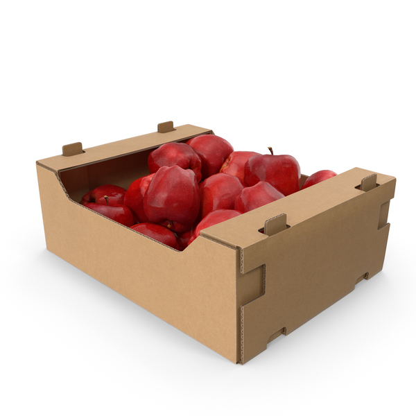 Cardboard Box With Red Chief Apple PNG & PSD Images