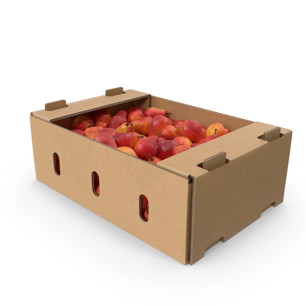 Cardboard Box with Red William Pear PNG & PSD Images