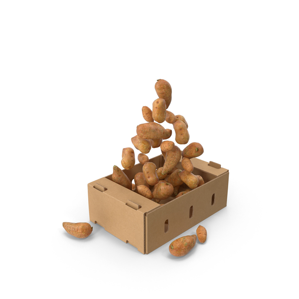 Cardboard Box With Sweet Potatoes Flying PNG & PSD Images