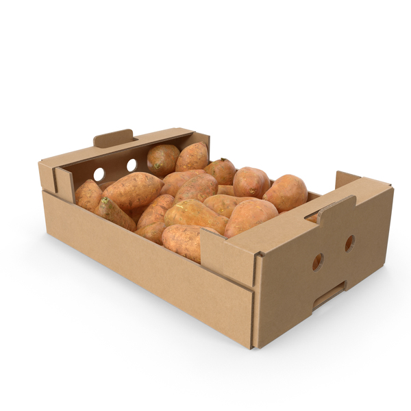 Potato: Cardboard Box With Sweet Potatoes PNG & PSD Images