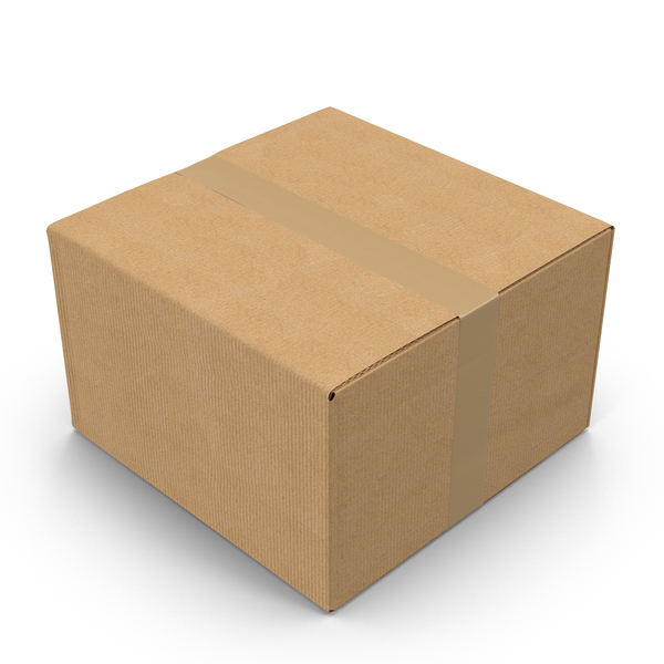 Cardboard Box with Tape Object