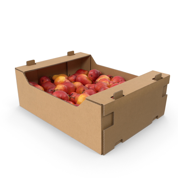 Cardboard Box With William Pear Red PNG & PSD Images