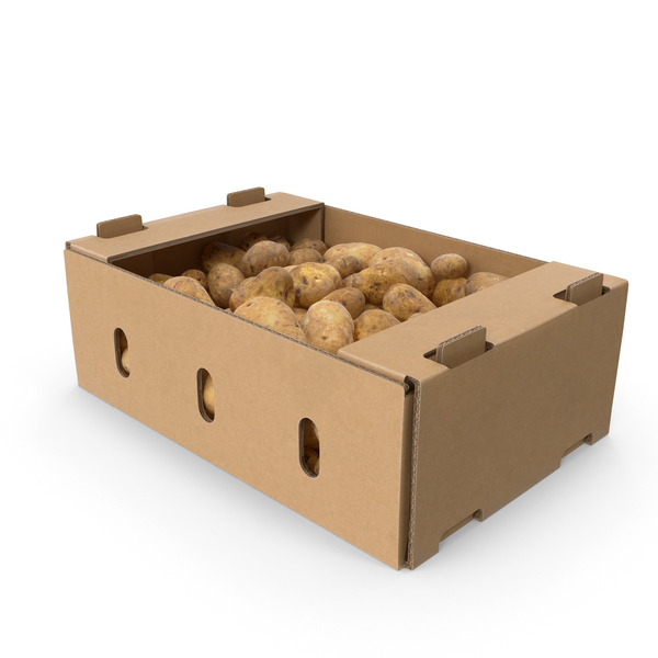 Cardboard Display Box With Potatoes PNG & PSD Images