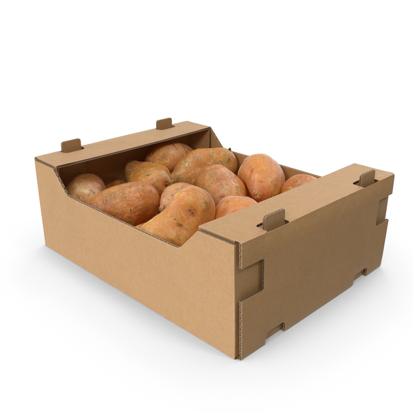 Potato: Cardboard Display Box With Sweet Potatoes PNG & PSD Images